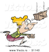 March 9th, 2016: Vector of a Cartoon Frantic Blond White Woman Catching a Fragile Package by Toonaday