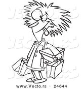 Vector of a Cartoon Frazzled Black Friday Shopper Woman - Outlined Coloring Page by Toonaday