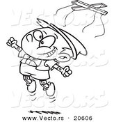 Vector of a Cartoon Free Wooden Puppet Boy Jumping - Coloring Page Outline by Toonaday