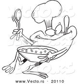 Vector of a Cartoon Frog Chef Mixing Flies - Outlined Coloring Page by Toonaday