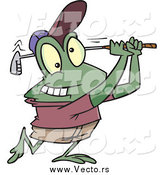 Vector of a Cartoon Frog Golfer by Ron Leishman