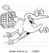 Vector of a Cartoon Frog Hopping with a Basket of Easter Eggs - Outlined Coloring Page Drawing by Toonaday