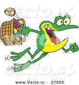 Vector of a Cartoon Frog Jumping with a Basket Full of Easter Eggs by Toonaday