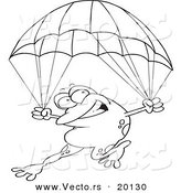 Vector of a Cartoon Frog Parachuting - Outlined Coloring Page by Toonaday