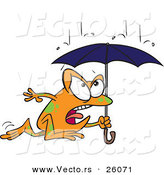 Vector of a Cartoon Frog Running Through Rain Under an Umbrella by Toonaday