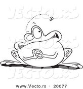 Vector of a Cartoon Frog Waiting for a Fly - Outlined Coloring Page by Toonaday