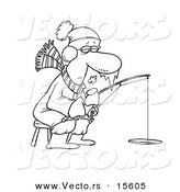 Vector of a Cartoon Frozen Man Ice Fishing - Coloring Page Outline by Toonaday