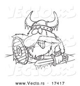 Vector of a Cartoon Frozen Viking - Coloring Page Outline by Toonaday