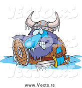 Vector of a Cartoon Frozen Viking in a Puddle by Toonaday