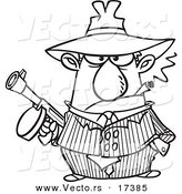 Vector of a Cartoon Gangster Holding a Gun and Smoking a Cigar - Coloring Page Outline by Ron Leishman
