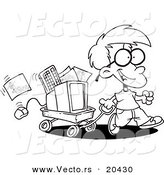 Vector of a Cartoon Geeky Boy Moving His Computer in a Wagon - Coloring Page Outline by Toonaday
