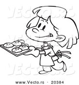 Vector of a Cartoon Girl Baking Cookies - Coloring Page Outline by Toonaday
