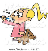Vector of a Cartoon Girl Brushing Her Teeth While Holding a Teddy Bear by Toonaday