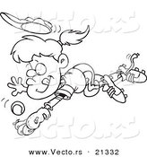 Vector of a Cartoon Girl Diving to Catch a Baseball - Outlined Coloring Page by Ron Leishman