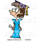 Vector of a Cartoon Girl Graduate by Toonaday