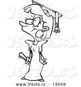 Vector of a Cartoon Girl Graduate - Coloring Page Outline Version by Toonaday
