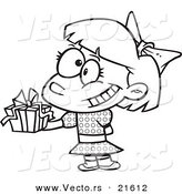 Vector of a Cartoon Girl Holding a Gift at a Party - Outlined Coloring Page by Toonaday