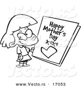 Vector of a Cartoon Girl Holding a Mothers Day Card - Coloring Page Outline by Toonaday