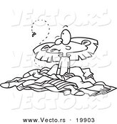 Vector of a Cartoon Girl in a Pile of Stinky Laundry - Outlined Coloring Page by Toonaday
