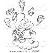 Vector of a Cartoon Girl in Heaven with Ice Cream - Coloring Page Outline by Toonaday