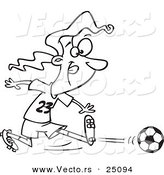 Vector of a Cartoon Girl Kicking a Soccer Ball - Outlined Coloring Page by Ron Leishman