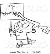 Vector of a Cartoon Girl on Strike - Outlined Coloring Page by Toonaday