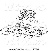 Vector of a Cartoon Girl Playing Hop Scotch - Outlined Coloring Page by Toonaday