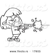 Vector of a Cartoon Girl Playing Laser Tag - Outlined Coloring Page by Ron Leishman