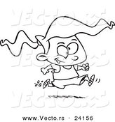 Vector of a Cartoon Girl Running a Marathon - Coloring Page Outline by Toonaday