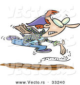 Vector of a Cartoon Girl Rushing to Seed Her Garden Soil by Toonaday