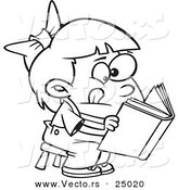 Vector of a Cartoon Girl Trying to Decipher Information in a Book - Outlined Coloring Page by Toonaday