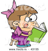 Vector of a Cartoon Girl Trying to Read a Book by Ron Leishman
