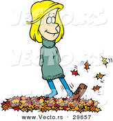 Vector of a Cartoon Girl Walking on Autumn Leaves by Toonaday