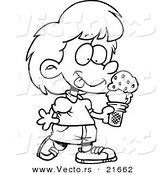 Vector of a Cartoon Girl with Ice Cream - Outlined Coloring Page by Toonaday