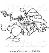Vector of a Cartoon Giving Christmas Penguin - Coloring Page Outline by Toonaday