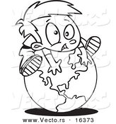 Vector of a Cartoon Globe - Outlined Coloring Page Drawing by Toonaday