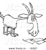 Vector of a Cartoon Goat Eating Paperwork - Outlined Coloring Page Drawing by Toonaday