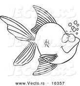 Vector of a Cartoon Goldfish with Bubbles - Outlined Coloring Page Drawing by Toonaday
