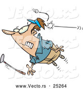 Vector of a Cartoon Golfer Being Hit by a Golf Ball by Toonaday