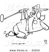 Vector of a Cartoon Golfer Charging Golf Ball with Club - Outlined Coloring Page by Toonaday