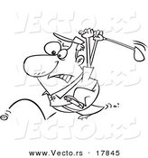 Vector of a Cartoon Golfer Swinging at His Last Ball - Outlined Coloring Page by Toonaday