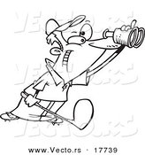 Vector of a Cartoon Golfer Using Binoculars - Coloring Page Outline by Toonaday