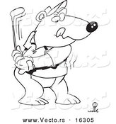 Vector of a Cartoon Golfing Bear - Outlined Coloring Page Drawing by Toonaday