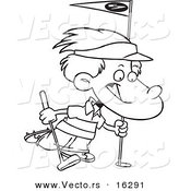 Vector of a Cartoon Golfing Boy - Outlined Coloring Page Drawing by Toonaday