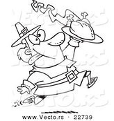 Vector of a Cartoon Goofy Pilgrim Carrying a Hot Turkey - Coloring Page Outline by Toonaday