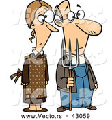Vector of a Cartoon Gothic Farmer Husband and Wife Standing Side-by-Side with a Pitch Fork by Ron Leishman