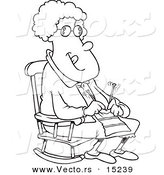 Vector of a Cartoon Granny Knitting in a Rocking Chair - Coloring Page Outline by Toonaday