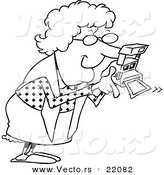 Vector of a Cartoon Granny Using a Polaroid Camera - Outlined Coloring Page by Toonaday