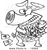 Vector of a Cartoon Greedy Pig with Money - Outlined Coloring Page Drawing by Toonaday