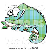 Vector of a Cartoon Green and Blue Plaid Chameleon Lizard Smiling on a Branch by Ron Leishman